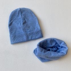 Шапка + снуд, голубой меланж