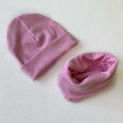 Шапка + снуд, розовый меланж